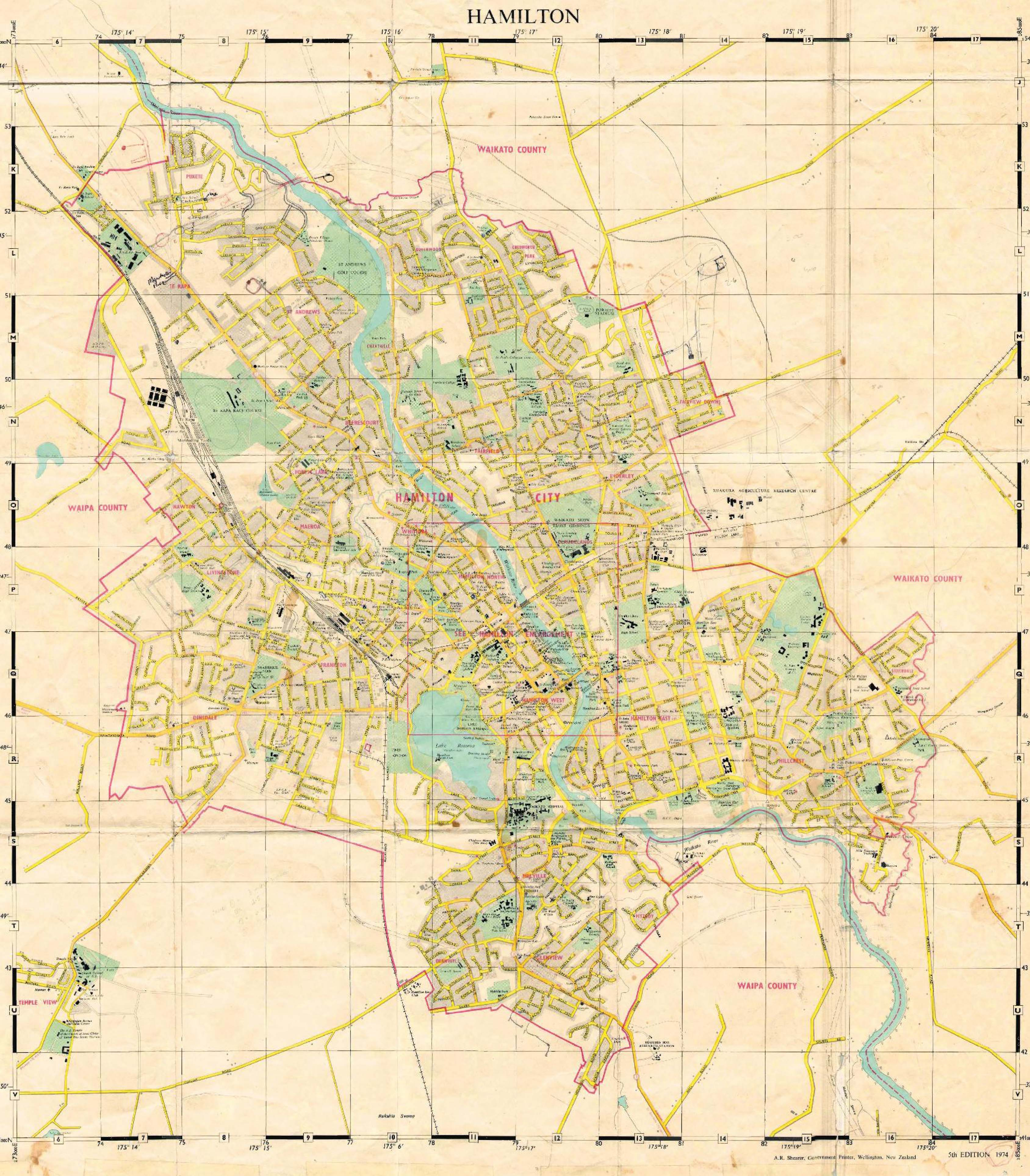 Hamilton New Zealand Map.Hamilton Map 1974 Hamilton Urban Blog